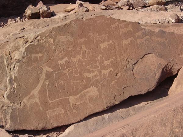 Камень с наскальными рисунками в пустыне Намиб